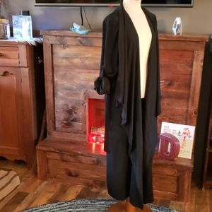 Just fab Black Cascading front duster w/tie waist